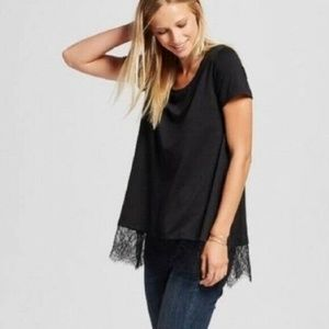 Mossimo black lace trim short sleeve swing top